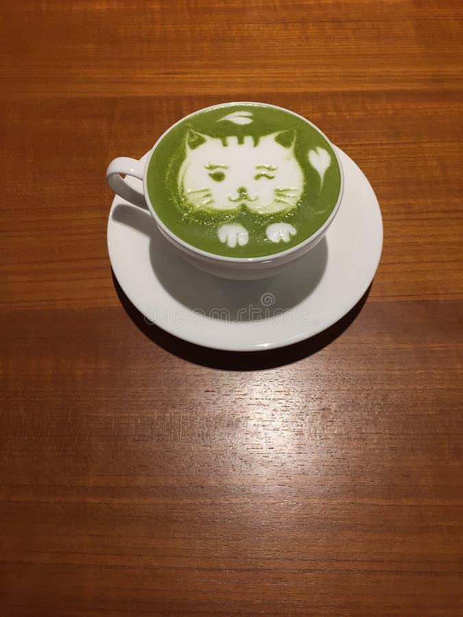 Green tea latte royalty free stock image