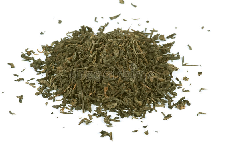 Green tea, loose leaf, isolated stock photography
