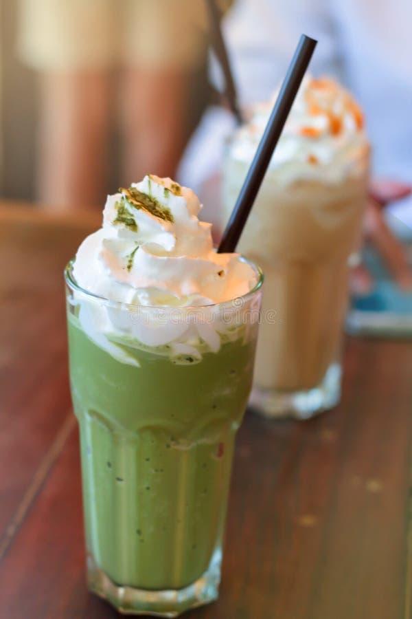 Green tea matcha latte frappe stock photos