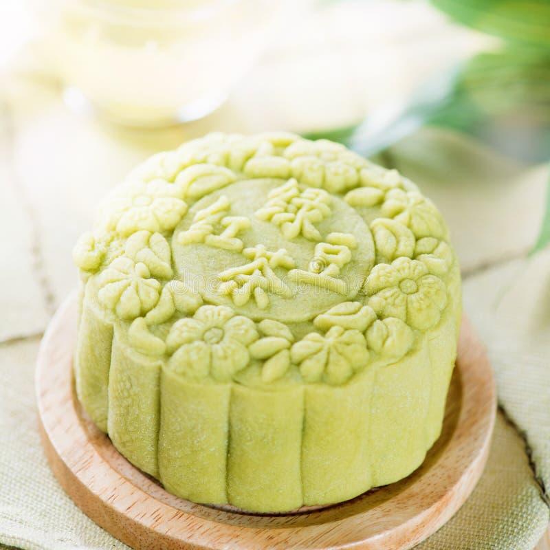 Green tea mooncake royalty free stock photography