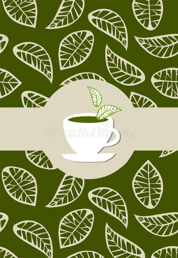 Green tea package label stock illustration