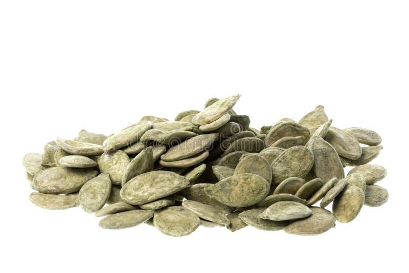 Green Tea Pumpkin Seeds. Isolated macro image of green tea pumpkin seeds stock photo