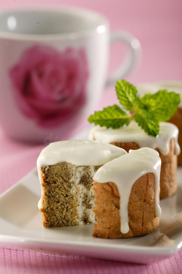 Green tea roll cake royalty free stock images