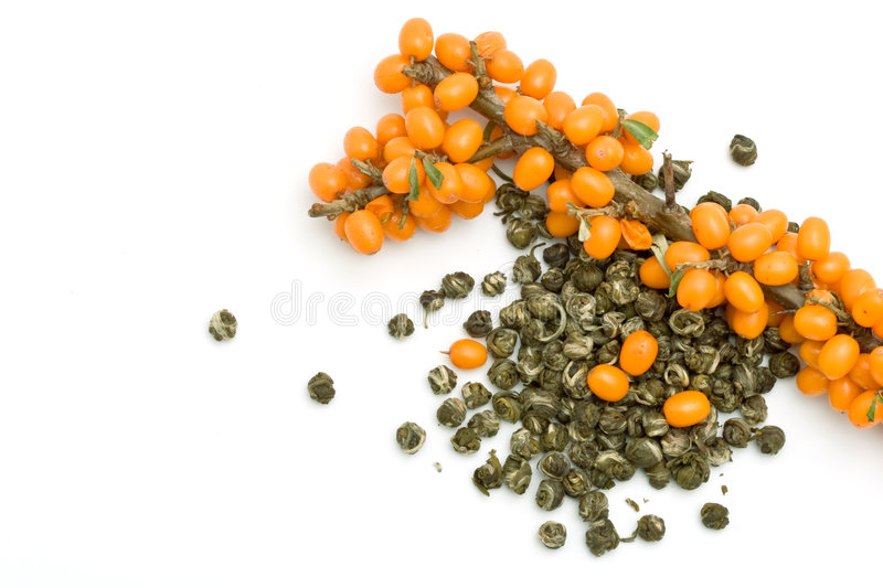 Green Tea and Sea-buckthorn stock image