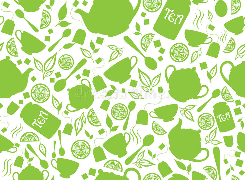 GREEN TEA SEAMLESS PATTERN stock photo