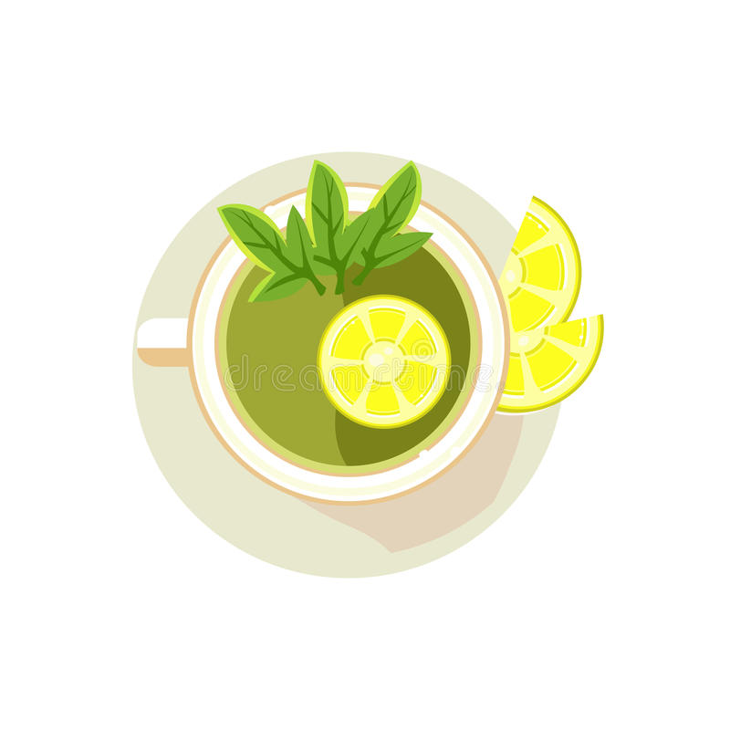 Green Tea with Sliced Lemon. Vector Illustration. Green Tea with Sliced Lemon. Colourful Vector Illustration stock illustration