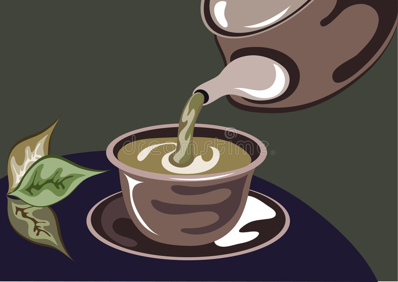Green tea with teapot and tea leafs vector illustration