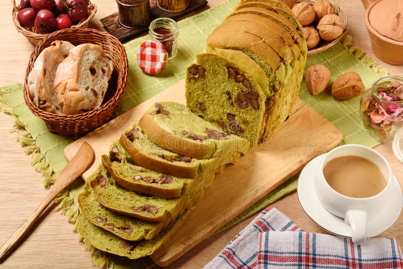 Green tea toast with red beans stock image