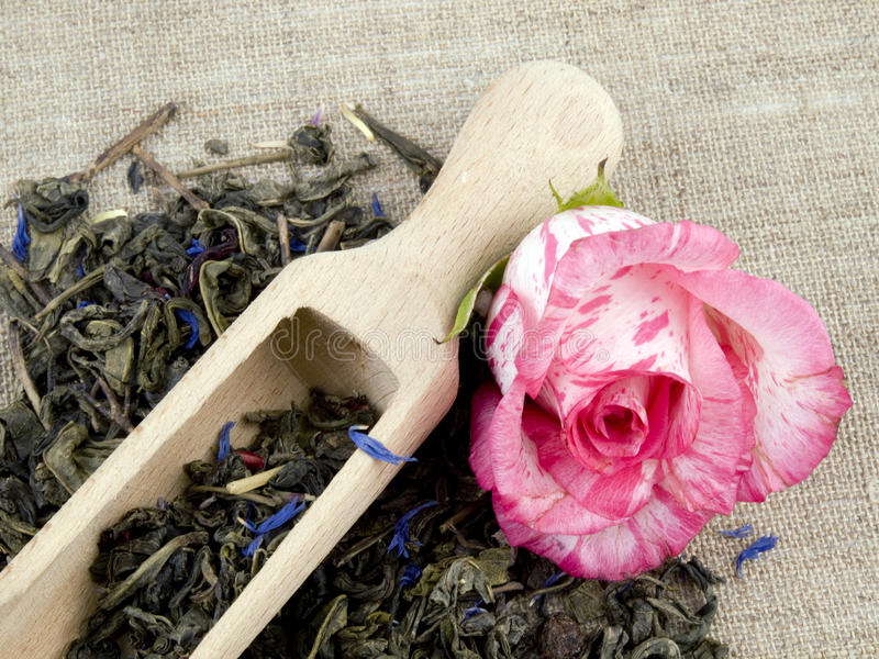 Download Green Tea And Wooden Shovel On Linen Background Stock Photo - Image: 18580248