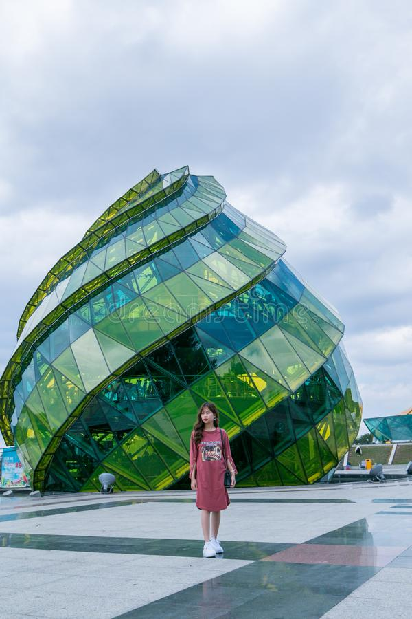 Green and Teal Glass Dome Building royalty free stock images