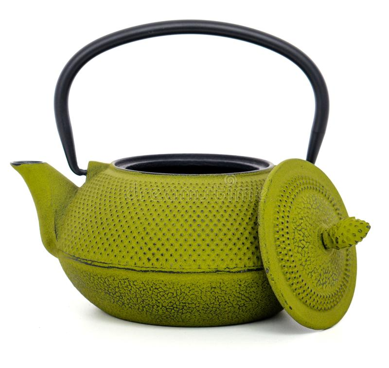 Chinese green teapot isolated on white background. Green teapot isolated on white background/ kettle with an open lid stock images