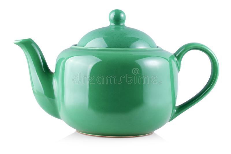 The Green Teapot Kettle Isolated On White Background. Green Teapot Kettle Isolated On White Background stock photos
