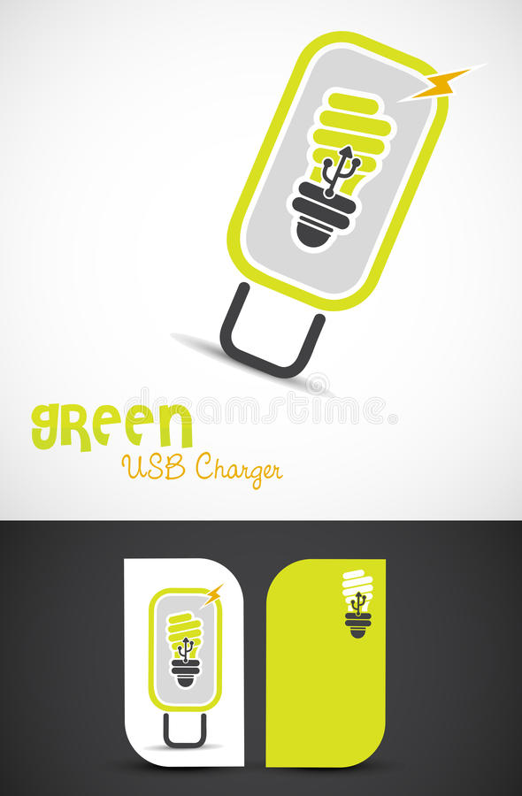 Green technology. Environment-friendly usb-charger, clean technology concept, EPS10 vector vector illustration