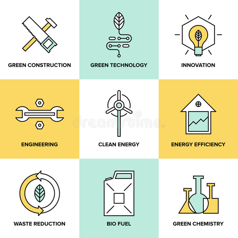 Green technology and clean energy flat icons set. Flat line icons set of natural renewable and clean energy, green technology innovation and chemistry, bio fuel stock illustration