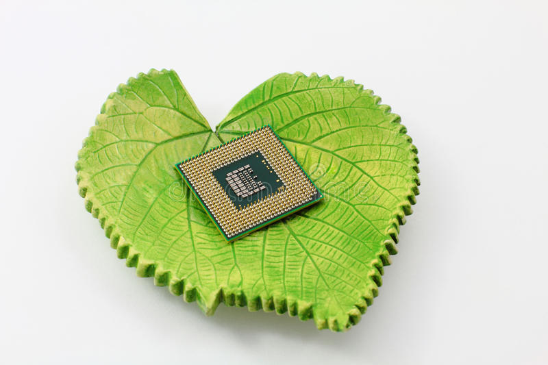Green Technology Concept. An electronic component against a green ceramic leaf. A concept showing or relating to green technology royalty free stock photo