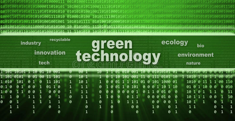 Green technology concept. Digital green technology concept background stock illustration