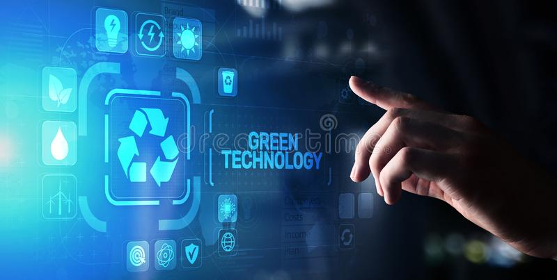 Green Technology Recycling Ecology Earth Saving concept on virtual screen. Green Technology Recycling Ecology Earth Saving concept on virtual screen royalty free stock photo