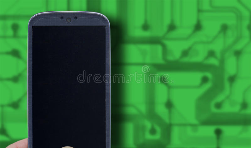 Green technology. Smatrphone and green technology background. Idea for telecommunication, digital detox, environment app, accessing apps, Internet, blogs and stock images