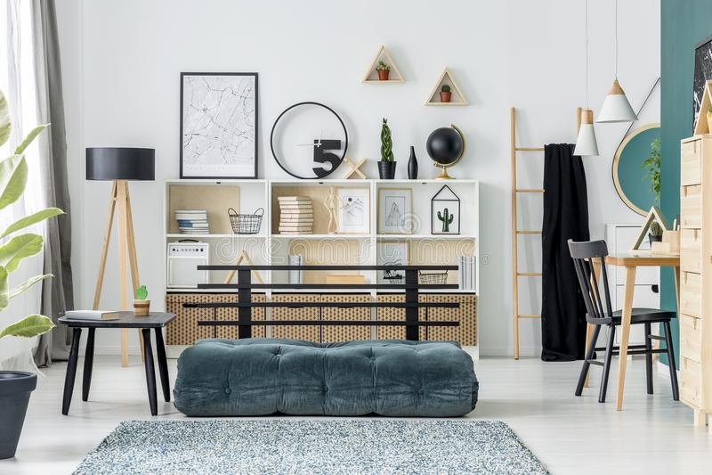 Green teenager`s room interior royalty free stock photo