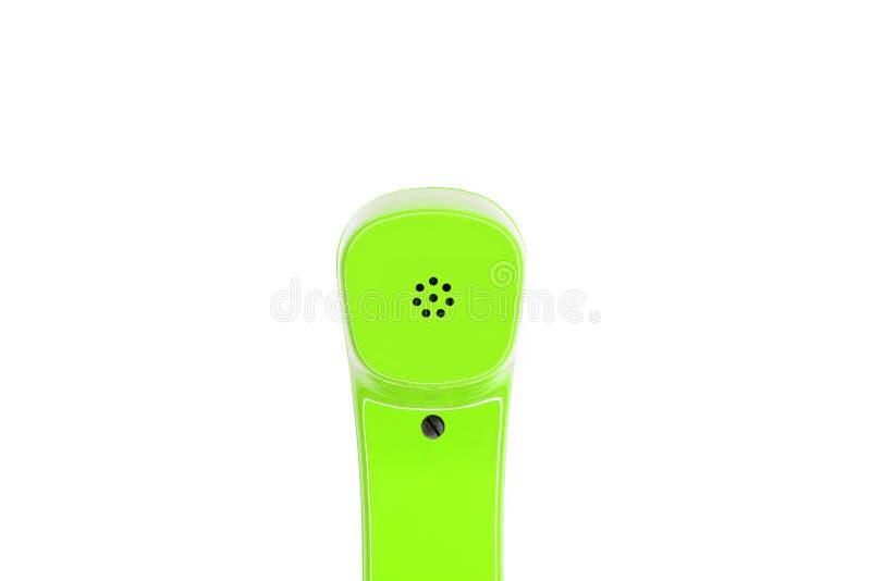 Green telephone handset in detail