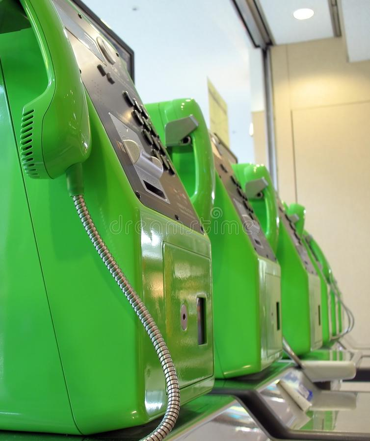 Green Telephones royalty free stock image