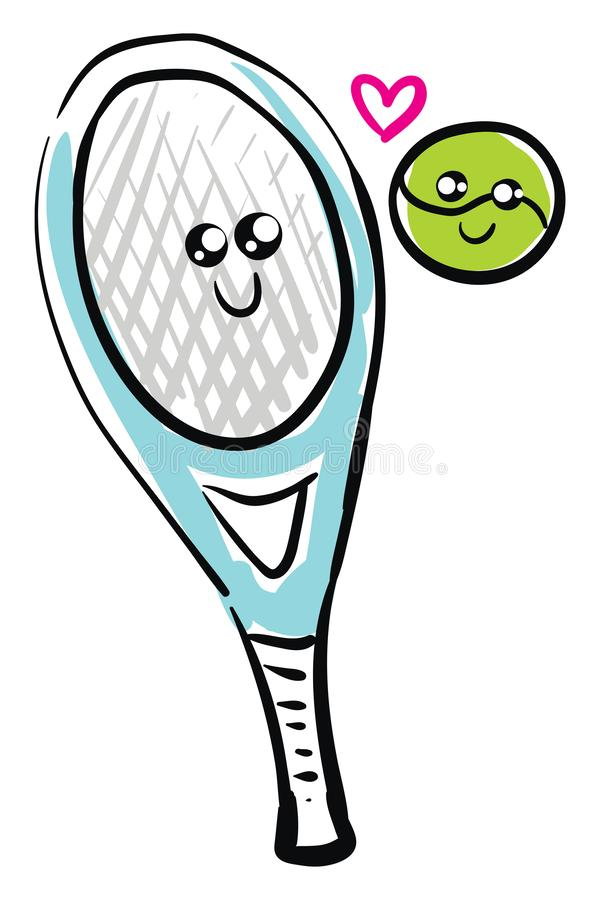 Clipart Of The Tennis Ball And Racket In Love Viewed From The Front Vector Or Color Illustration Stock Vector Illustration Of Background Cute 160161793
