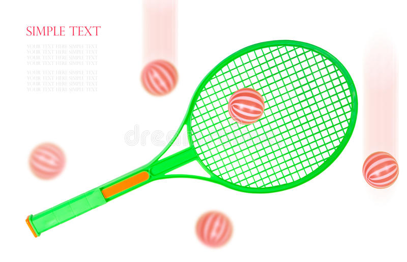 Green Tennis racket and balls isolated on white background stock photo