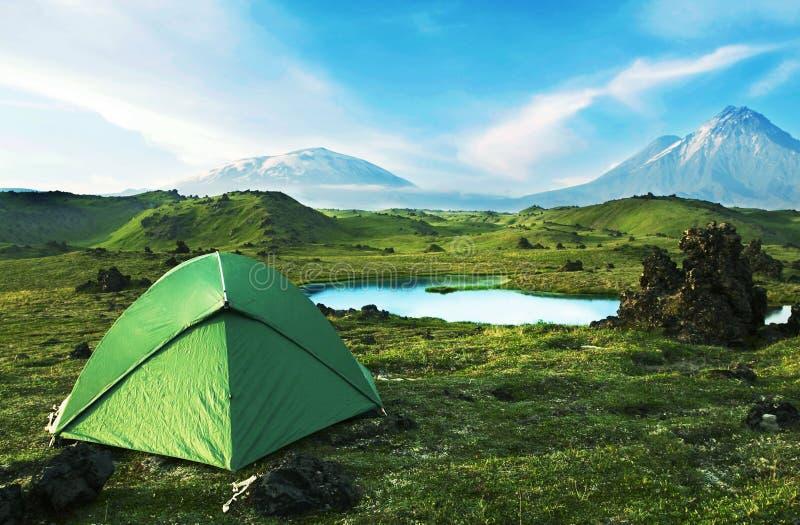 Green tent stock photos