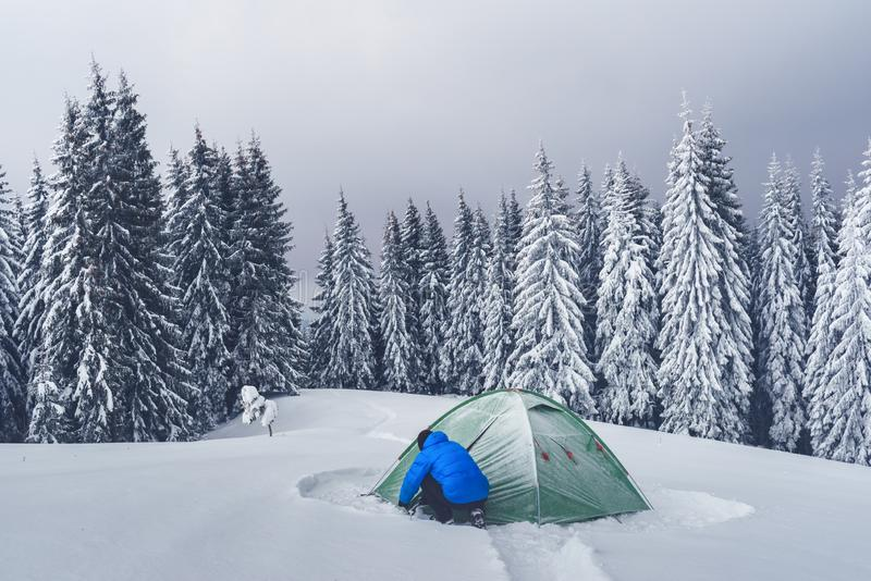 Green tent in winter mountains royalty free stock photos