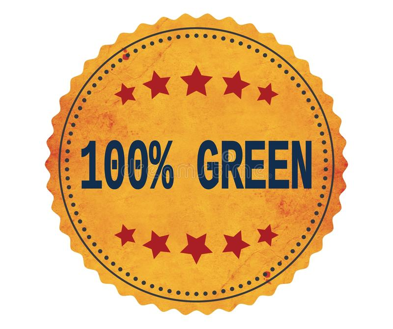 100%-GREEN text, on vintage yellow sticker stamp. royalty free illustration