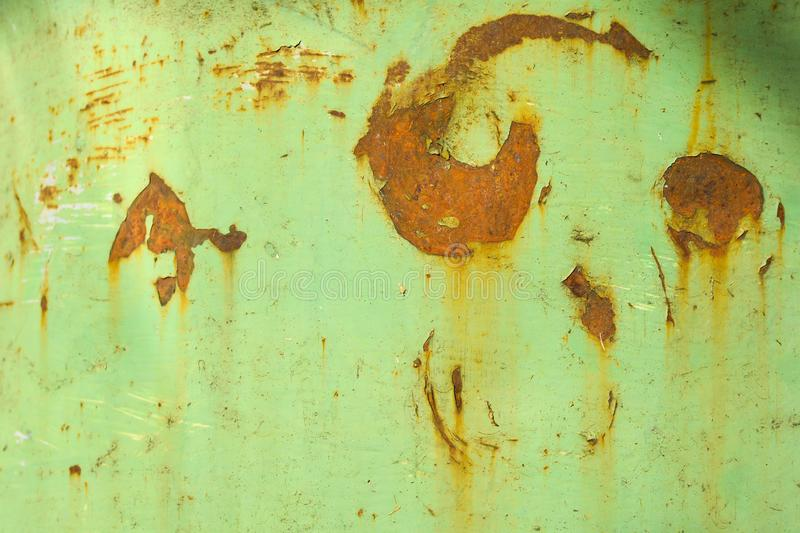 Green texture with rust. Close up. Rusty surface of green metal plate. texture backdrop. Background, dirty, paint, pattern, rough, iron, material, wall stock images