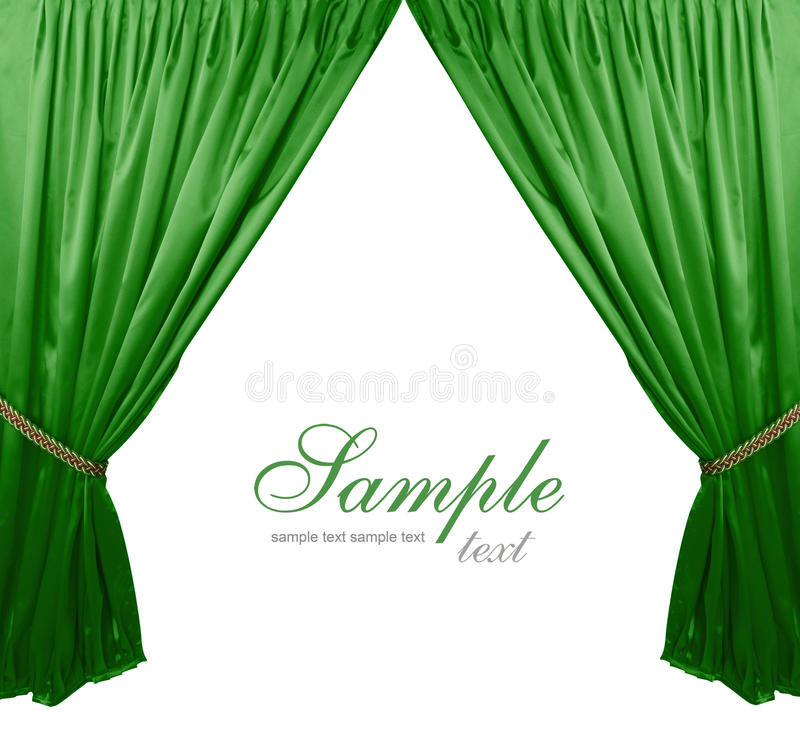 Green theater curtain background. Green isolated theater curtain background royalty free stock images