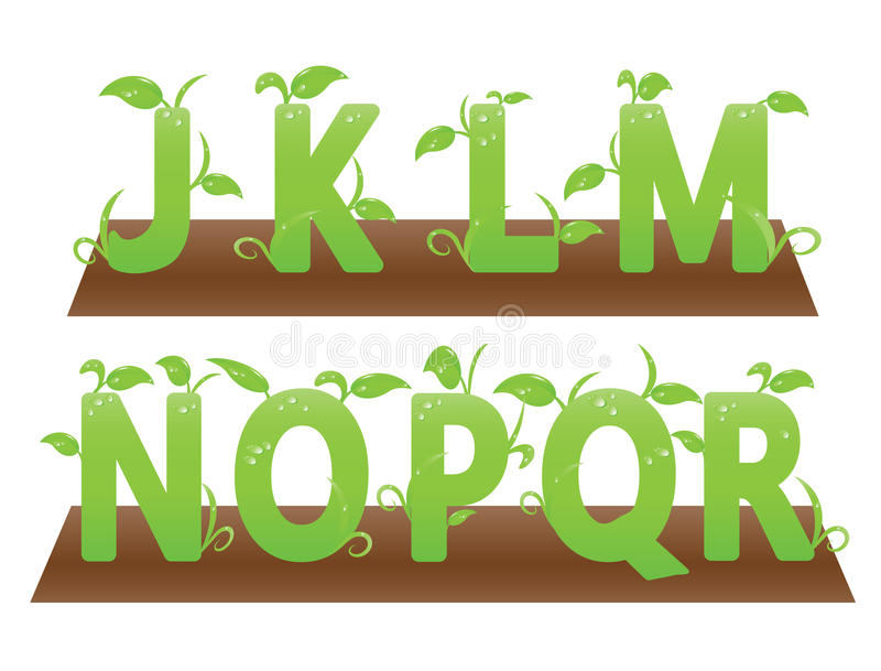 Green themed alphabets from j to r stock image