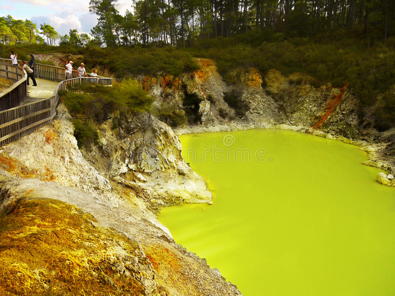 Green Thermal Lake, Volcanic area, New Zealand stock image