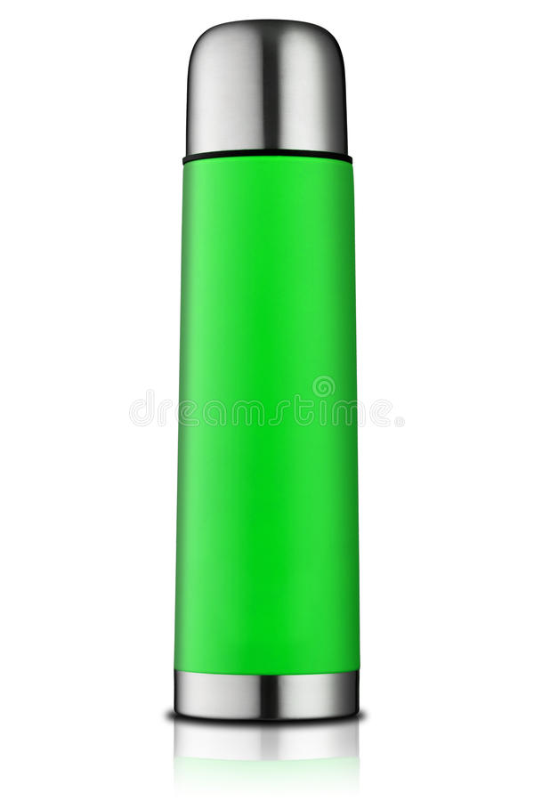 Green thermos flask royalty free stock photography