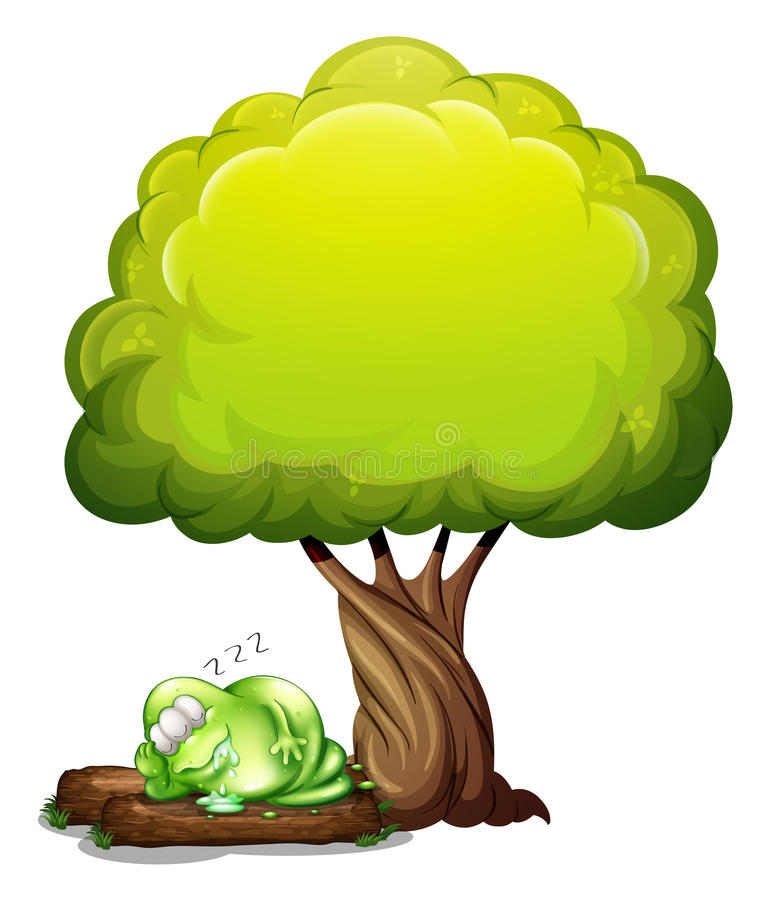 A green three-eyed monster sleeping soundly under the tree royalty free illustration