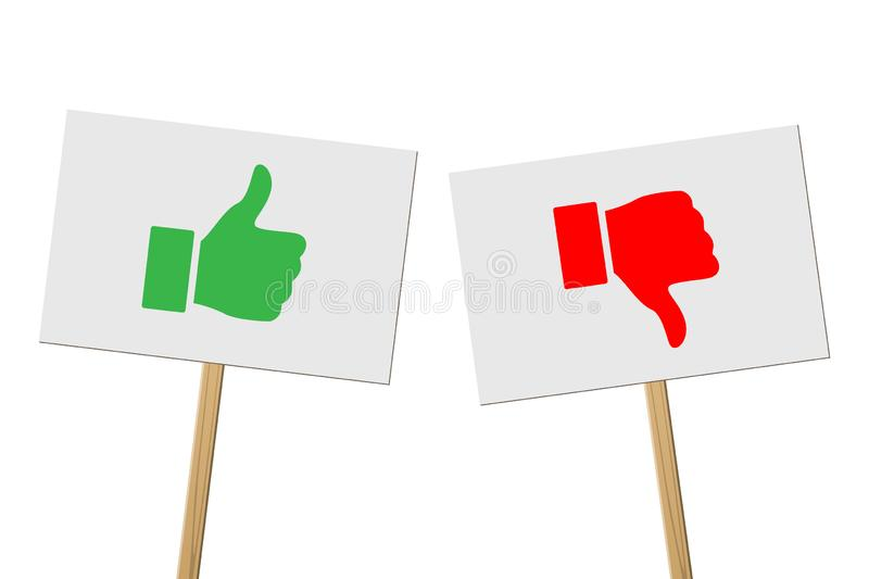 Green Thumbs Up and red Thumbs Down signs on banners on wood sticks. Vector protest signs with Thumb Up and red Thumb vector illustration