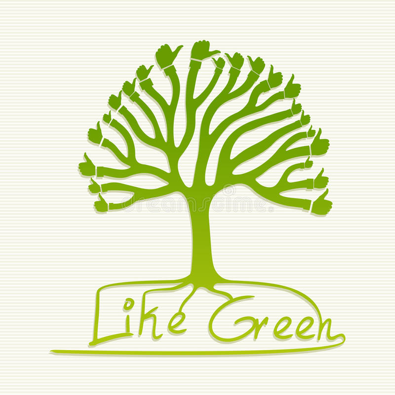 Green thumb up tree illustration royalty free stock image