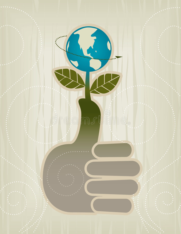 Green Thumbs Up. Stylized Green Thumb/Globe/Thumbs Up Concept Icon; Easy-edit layered file stock illustration