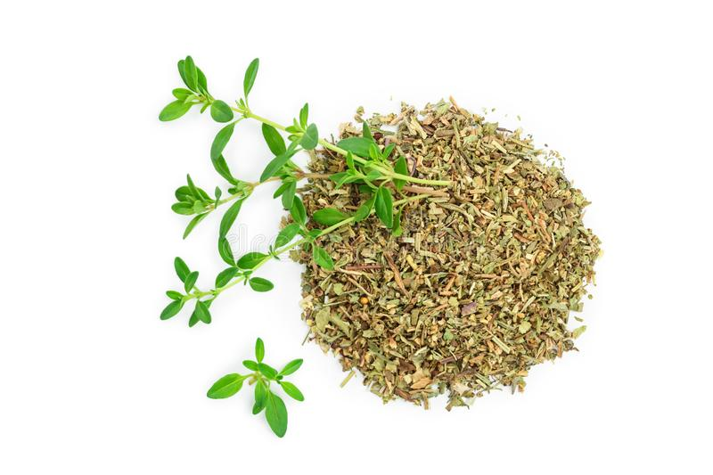 Green thyme with dried thyme leaves isolated on white background close up.  royalty free stock photography