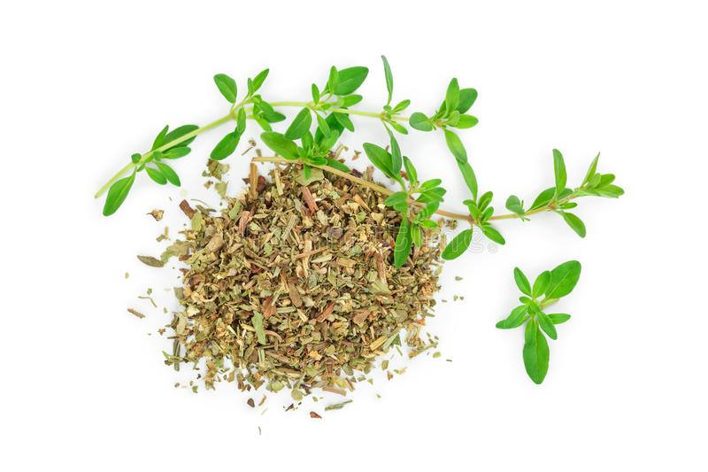 Green thyme with dried thyme leaves isolated on white background close up.  stock photos