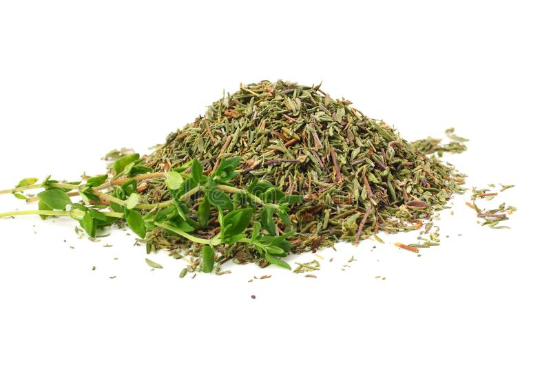 Green thyme with dried thyme leaves isolated on white background close up stock images