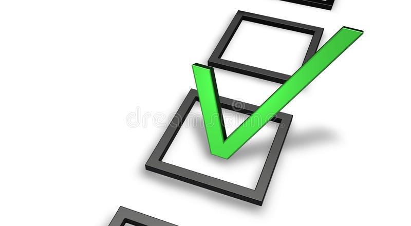 Green Tick. Right Or Wrong (answer) in check box vector illustration