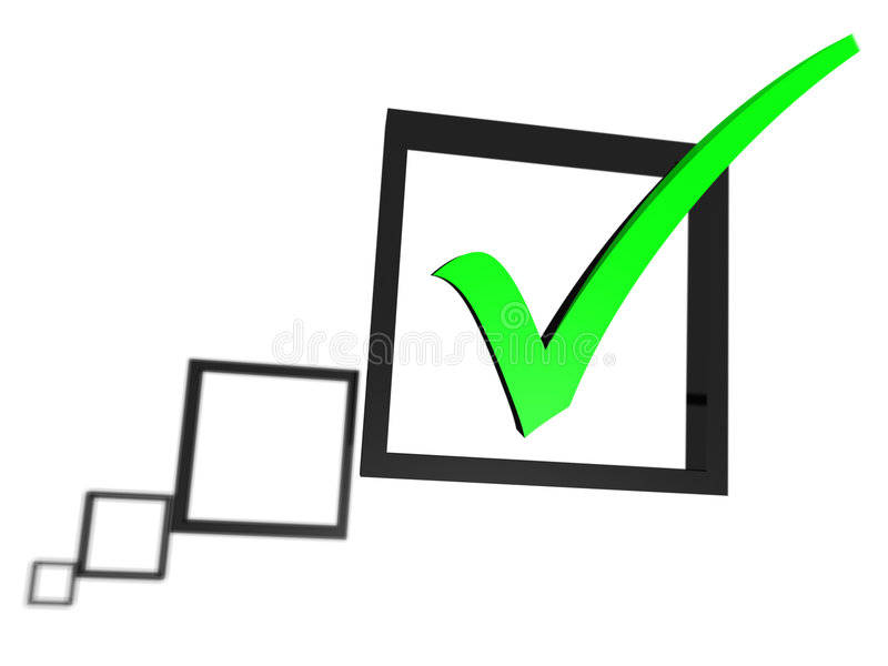 Green tick in a check box list stock illustration