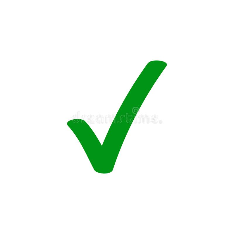 Green tick checkmark vector icon royalty free illustration
