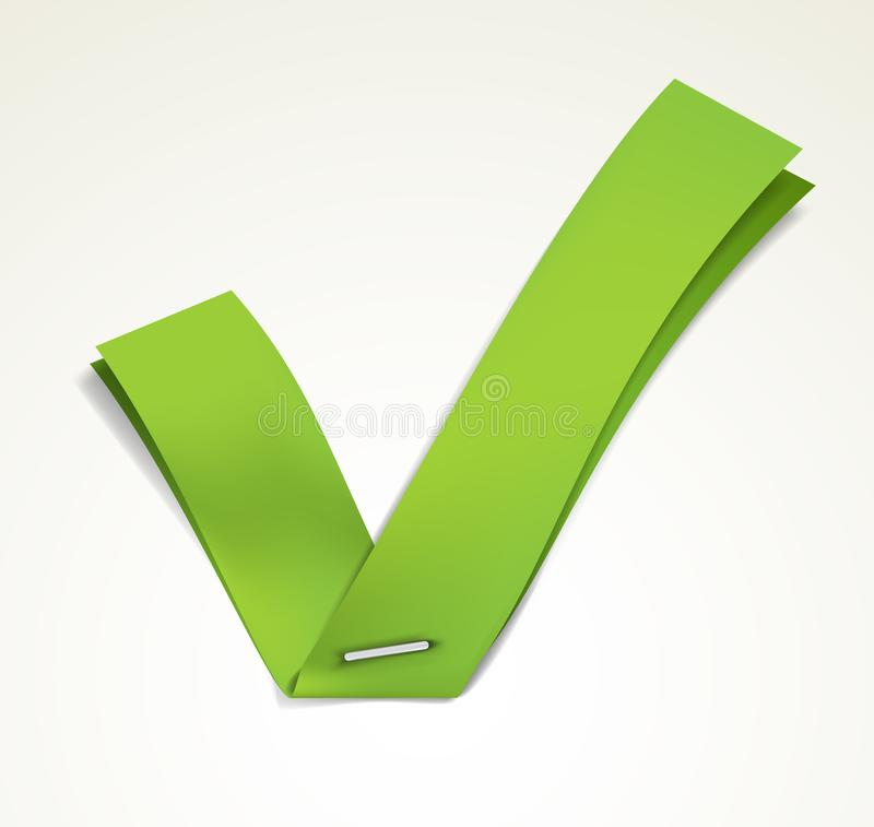 Green tick. Green ribbon stapled to a white sheet forming a tick. EPS10 vector royalty free illustration