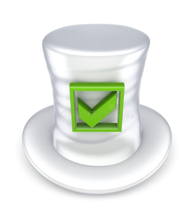 Green Tick Mark On White Hat. Stock Photo