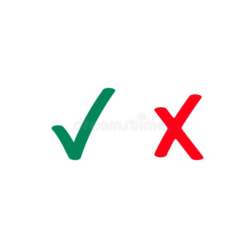 Green tick and red checkmark vector icons vector illustration