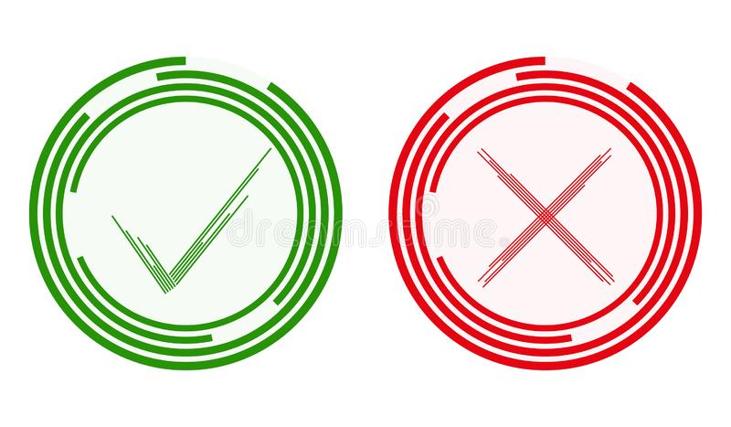 A green tick and a red cross, a statement and a denial. Green and red yes no. Abstract green tick and red cross. Flat design, vector illustration, vector stock illustration