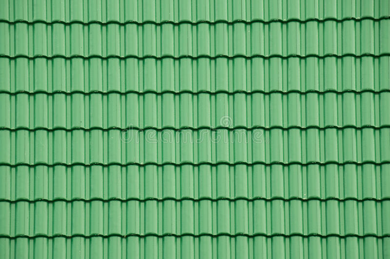 Green tile roof for texture and background stock image
